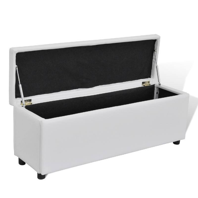 banc banquette coffre de rangement 120 cm blanc. Black Bedroom Furniture Sets. Home Design Ideas