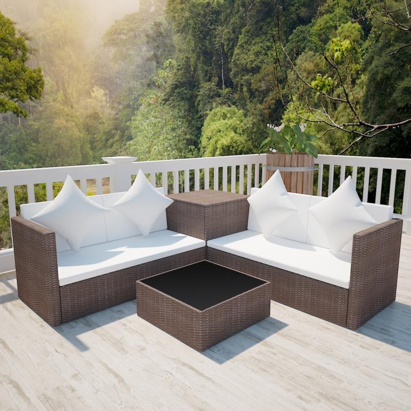 Canapé de jardin d\'angle en résine tressée, marron