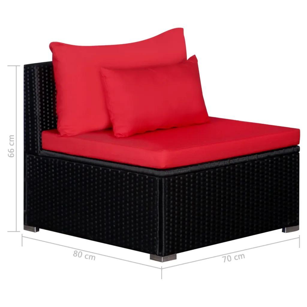 SALON canapé de jardin d\'angle, noir, coussins rouge, XXL
