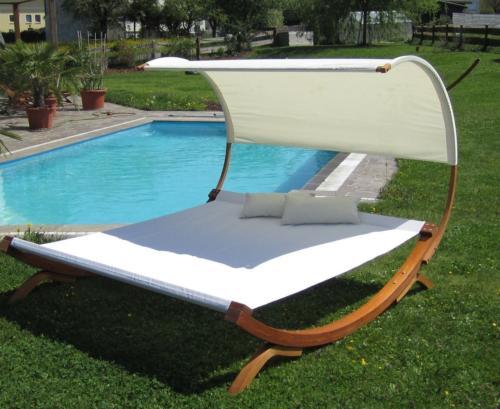 HAMAC lit de jardin, bois, 2 places avec pare-soleil