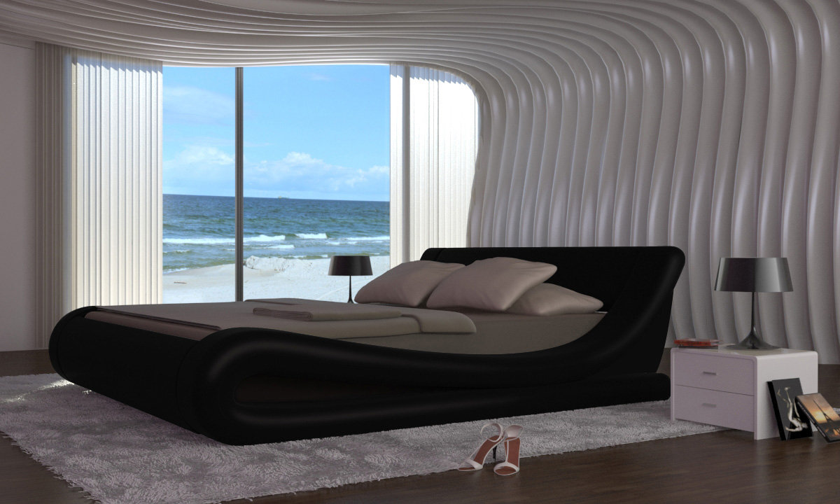 lit design en cuir noir matelas140 x 200 cm. Black Bedroom Furniture Sets. Home Design Ideas