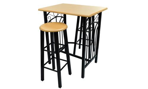 Avec son design exclusif et robuste, cette table haute et 2 tabourets