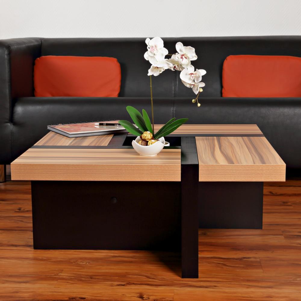 table basse mod le oregon noir brun. Black Bedroom Furniture Sets. Home Design Ideas